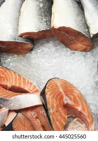 Salmon filet on ice. Salmon and ice. Ice background with salmon. Salmon on ice.