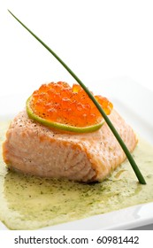 Salmon Fillet in Cream Sauce with Salmon Roe