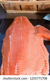 Salmon fillet at a fishmonger