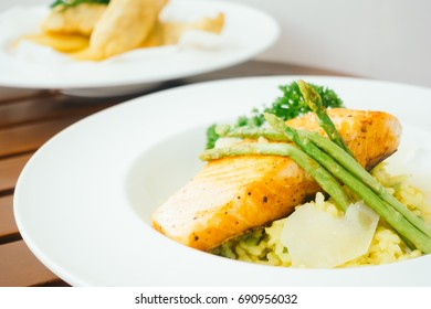 Salmon fillet meat steak in white plate - Healthy food style