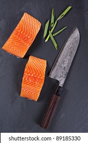 salmon fillet with santoku knife