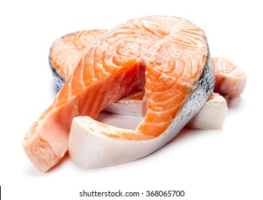 Salmon fillet slices