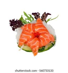 Salmon Fish Caviar Onion Cucumber Sashimi Sushi Japanese Menu