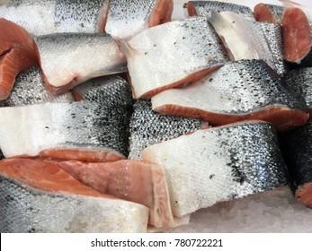 salmon fish. cutted fresh salmon fish.