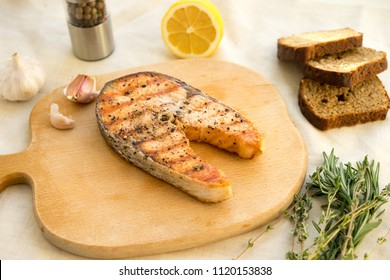 Salmon fish fillet grilled steak