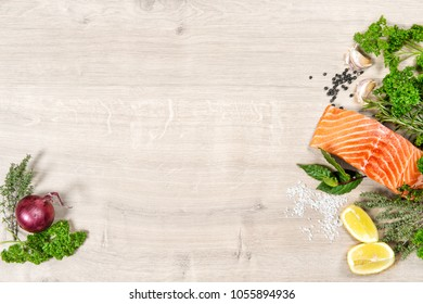 Salmon fish fillet with herbs and spices. Seafood. Healthy nutrition