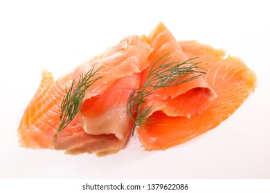salmon fish fillet isolated on white background