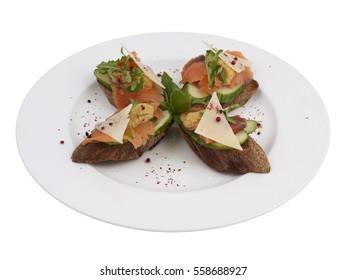 Salmon Fish Parmesan Cheese Cucumber Bruschetta Italian Antipasto Topped Appetizer Snack Dish Set