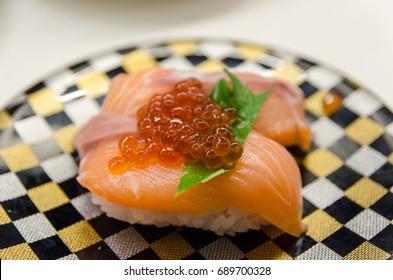 Salmon Fish and Roe Sushi Nigiri