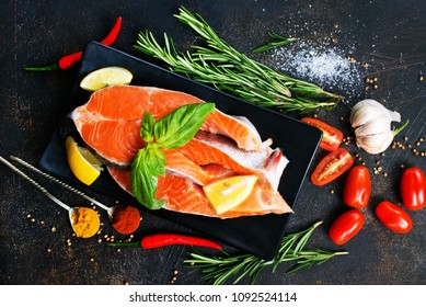 salmon fish with salt and spice, stock photo