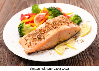 salmon fish and vegetable
