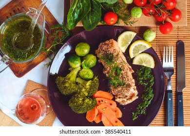 Salmon fish with vegetables top view