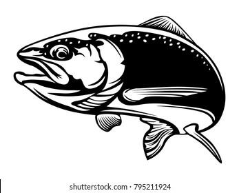 Salmon fish.Vintage Salmon Fishing emblems, labels and design elements. illustration.