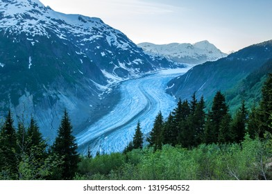 Salmon Glacier flowing between Boundary Ranges on the border of British Columbia and Alaska