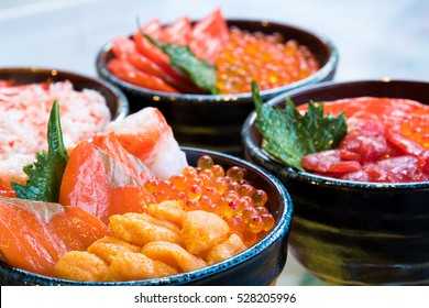 Salmon and ikura don, close up, seafood bowl Hokkaido Sapporo ,Japan