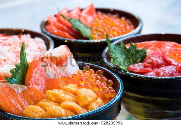 鮭といくら丼接写海鮮丼北海道札幌日本