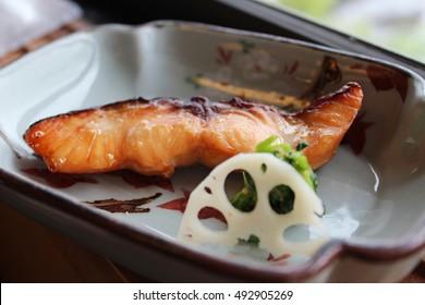 Salmon in Japanese Kaiseki or kaiseki-ryri at the restaurant in Kyoto, Japan
