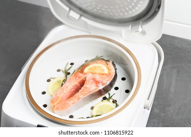 Salmon with lemon and rosemary prepared in a multivariate