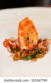 salmon with lentil