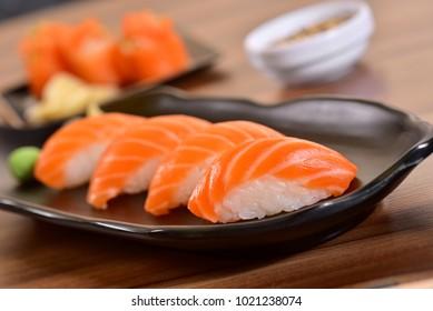 Salmon nigiri sushi clouse up