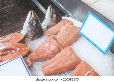 Salmon on ice in store. Greece, Athens, Piraeus