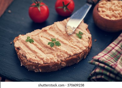 Salmon pate on bread
