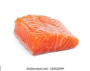 Salmon piece. Isolated on white background