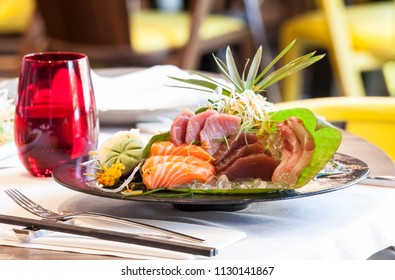 Salmon plate on the table