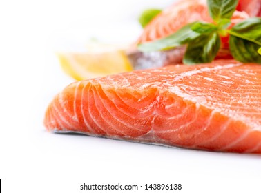 Salmon Raw Fillet. Red Fish isolated on a White Background