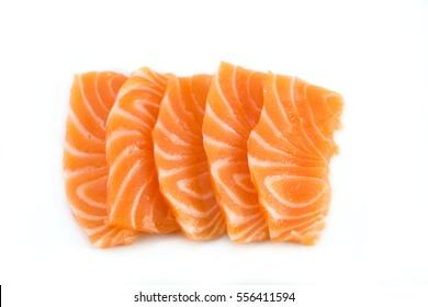 Salmon raw sashimi on white background