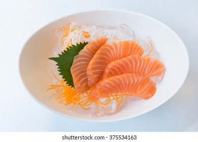 Salmon raw sliced