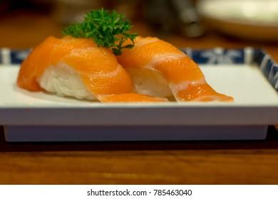 Salmon raw,Sashimi salmon in Japanese restaurant