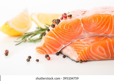 salmon red fish on a white background