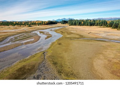 Salmon River estuary near Gustavus Alaska at low tide in autumn as seen from a drone.