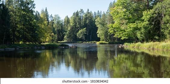 Salmon river landscape in autumn