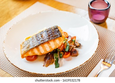 salmon with roasted vegetables, dinner in the restaurant