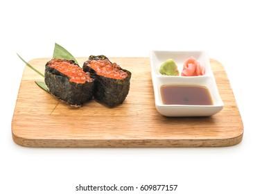 Salmon roe nigiri sushi - japanese food style on white background