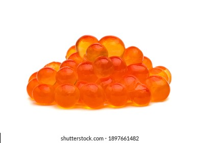 salmon roe or red caviar isolated on white background