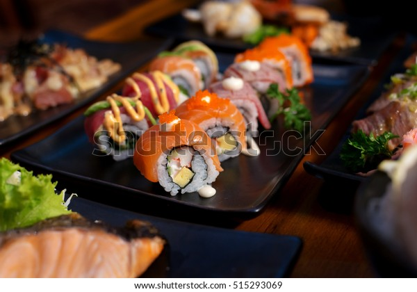 Salmon roll , Japanese favorite food sushi maki