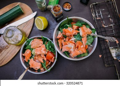Salmon salad, camping