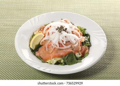 Salmon salad Restaurant side Menu