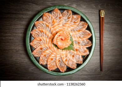 Salmon Sashimi , Salmon sashimi Art , Pic Salmaon Sashimi