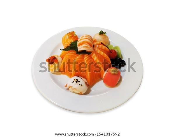 Terrific Salmon Sashimi Birthday Cake Sushi Ball Stock Photo Edit Now Birthday Cards Printable Opercafe Filternl