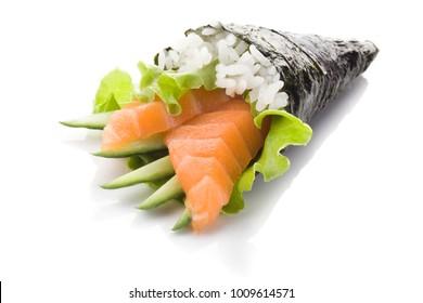 Salmon sashimi with cucumber and rice