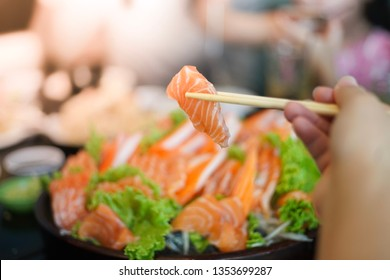 Salmon sashimi for healthy eating in japanese restaurant