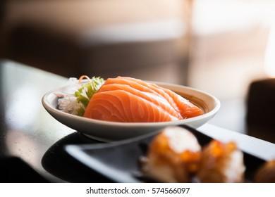 Salmon Sashimi Japanese food