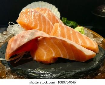 Salmon Sashimi at Japanese restaurant