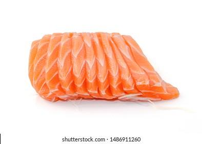 Salmon sashimi in Japanese style, Slices of raw salmon fillet isolated on white background.