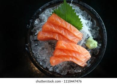 Salmon sashimi on ice Japanese food