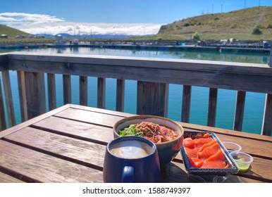 Salmon sashimi and salmon salad lunch, High country salmon farm, Twizel, Lake Pukaki, New Zealand
